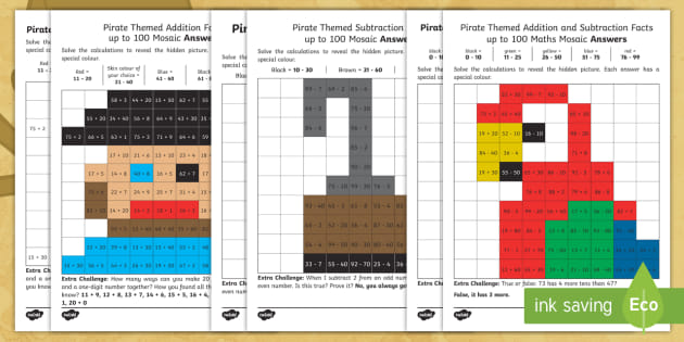 ks1 pirate themed addition and subtraction facts up to 100 maths mosaic. Black Bedroom Furniture Sets. Home Design Ideas