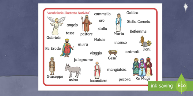 Nativity Word Mat English/Italian - Nativity Word Mat - Nativity, Christmas, xmas, Word mat, writing aid, Mary, Joseph, Jesus, shepherd, - Nativita\', vocabolario illustrato, parole, natale, gesu, maria, giuseppe, buone feste, feste, nat