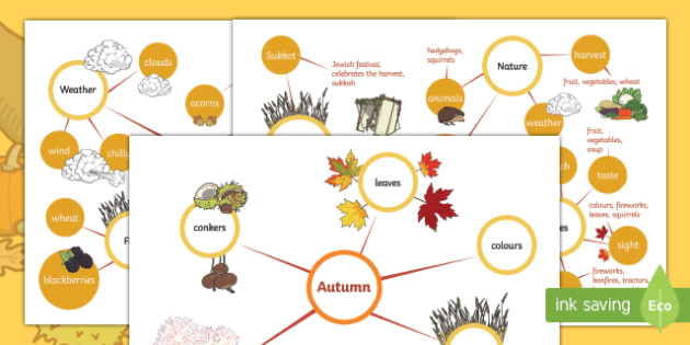 Differentiated Autumn Concept Maps Activity Sheet, worksheet, harvest, autumn foods, autumn festivals