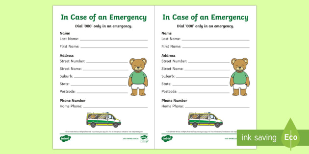NEW * Emergency Contact Details Writing Template to Support