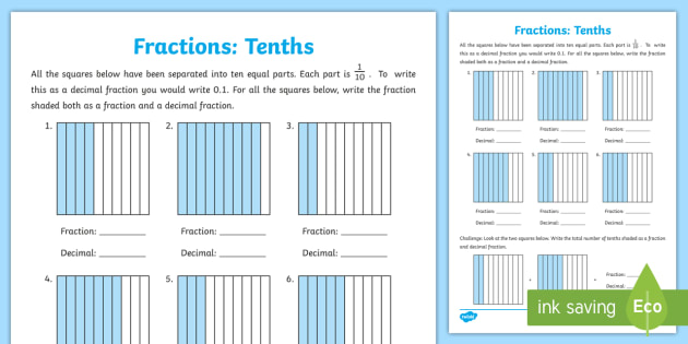 tenths as fractions and decimals worksheet  worksheet  tenth decimal tenths as fractions and decimals worksheet  worksheet  tenth decimal  fraction fraction