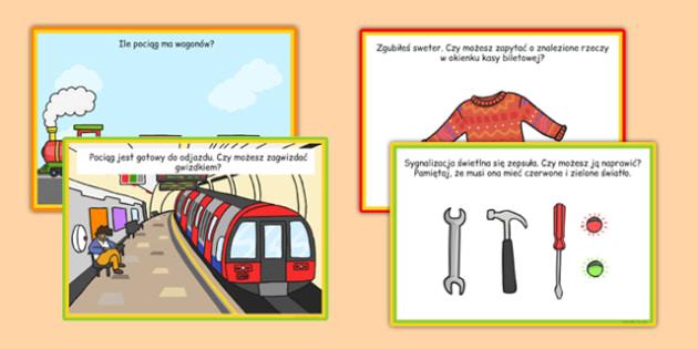 Karty z wyzwaniami Dworzec kolejowy po polsku - pociąg, stacja