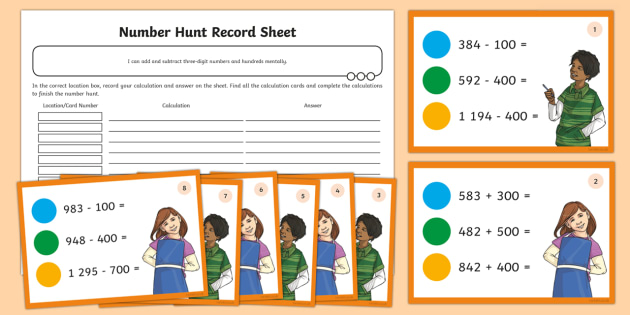 Adding and Subtracting Three-Digit Numbers and Hundreds Mentally Activity Pack - Addition and Subtraction, Addition and Subtraction, Add, more, plus, and, altogether, total, equal t