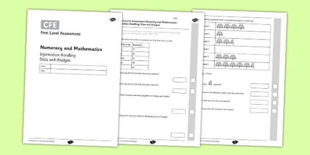 CfE First Level Assessment Numeracy and Mathematics Information Handling: Data and Analysis - CfE, assessment, data, information handling, bar graphs, Venn, Carroll, tally marks