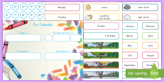 Colorful Crayons Display Calendar - classroom, calendar, planner, date, weather, month, day
