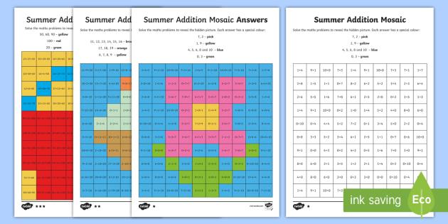 KS1 Summer Addition Mosaic Differentiated Worksheet / Activity Sheets - number bonds, number bonds to 10, number bonds to 20, adding, ks1 addition, magical mosaics