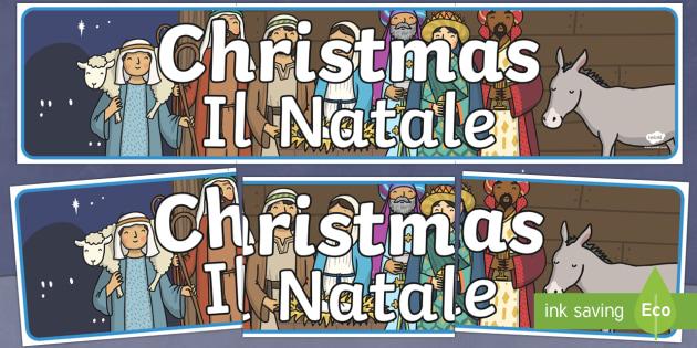 Italian Translation Christmas Display Banner English/Italian - Christmas Display Banner (Christmas) - Christmas, xmas, display banner, Santa, Father Christmas, tre