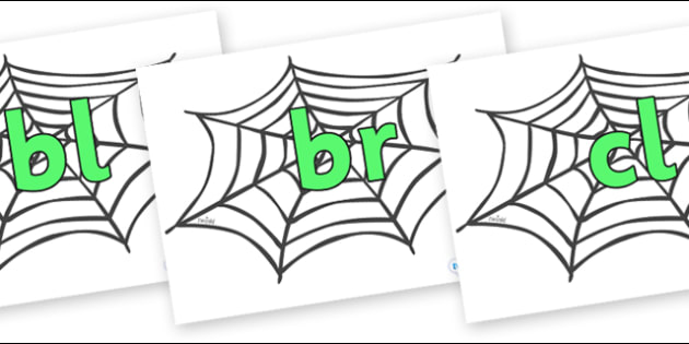 Initial Letter Blends on Spiders Web - Initial Letters, initial letter, letter blend, letter blends, consonant, consonants, digraph, trigraph, literacy, alphabet, letters, foundation stage literacy
