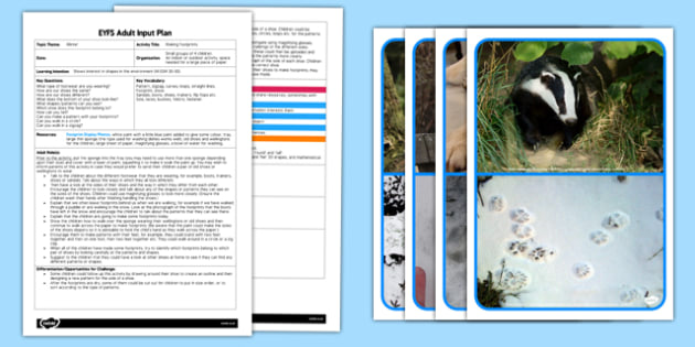 Making Footprints EYFS Adult Input Plan Template and Resource Pack - EYFS, early years planning,  winter, shape space measure, patterns, mathematics