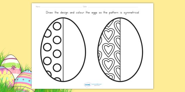 Easter Egg Symmetry Sheets - easter, easter egg, symmetry, maths