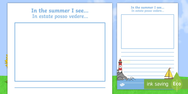 In the Summer I See Writing Frame Italian/English - summer
