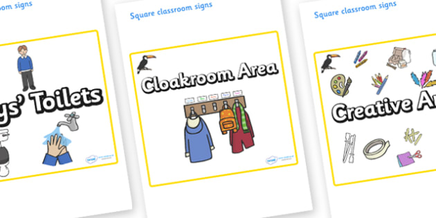 Toucan Themed Editable Square Classroom Area Signs (Plain) - Themed Classroom Area Signs, KS1, Banner, Foundation Stage Area Signs, Classroom labels, Area labels, Area Signs, Classroom Areas, Poster, Display, Areas