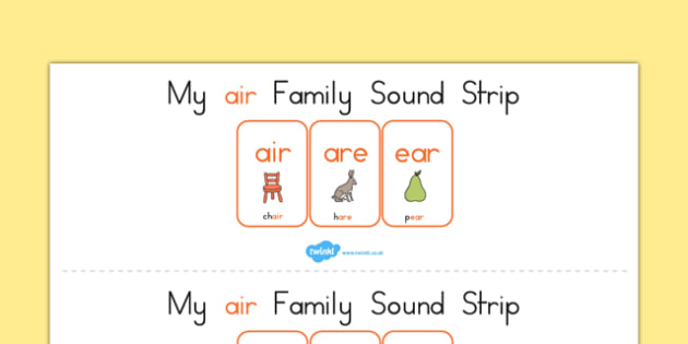 My Air Family Sound Strip - sound family, visual aid, literacy