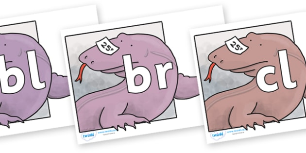 Initial Letter Blends on Komodo Dragon to Support Teaching on The Great Pet Sale - Initial Letters, initial letter, letter blend, letter blends, consonant, consonants, digraph, trigraph, literacy, alphabet, letters, foundation stage literacy