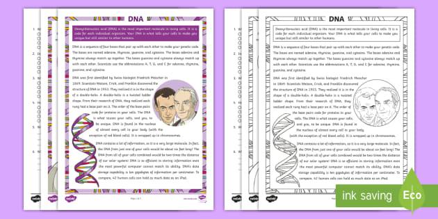 Fifth Grade DNA Reading Comprehension Activity