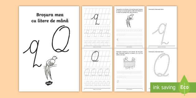 Scrierea Literelor Q și Q De Mână Broșură Cu