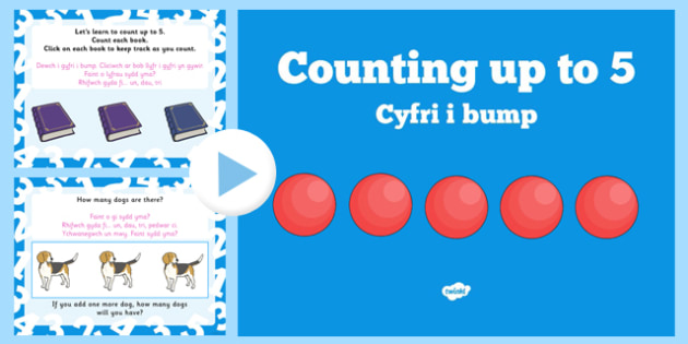 Counting to 5 PowerPoint Bilingual - welsh, cymraeg, Counting to 5, PowerPoint, Nursery, Reception, Bilingual, Welsh Second Language, Oracy