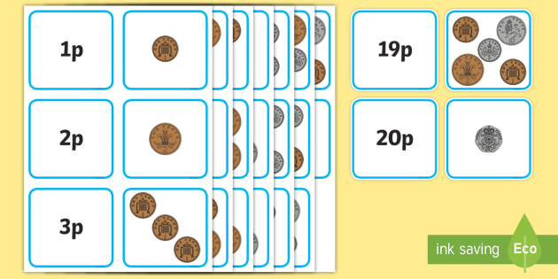 British Money Matching Cards to 20p Mixed New Coins - money, coins, maths