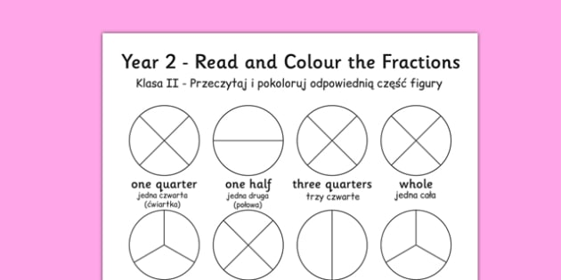 Year 2 Read and Colour a Fraction Polish Translation - polish, fractions, colours, reading