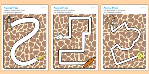 Animals Pencil Control Path Worksheets - animals, pencil control, fine motor skills, animal worksheet, pencil control worksheets, worksheets, pencil work