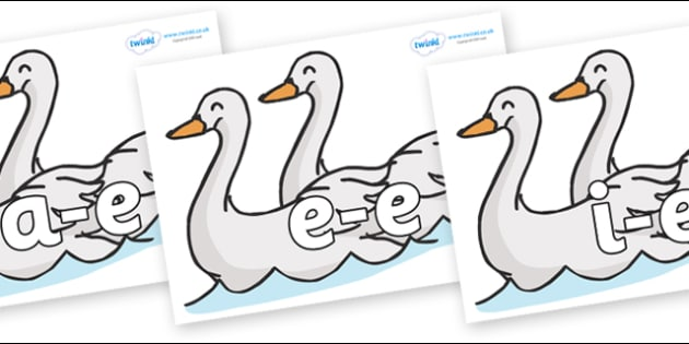 Modifying E Letters on Swans - Modifying E, letters, modify, Phase 5, Phase five, alternative spellings for phonemes, DfES letters and Sounds