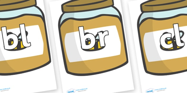 Initial Letter Blends on Honey Jars - Initial Letters, initial letter, letter blend, letter blends, consonant, consonants, digraph, trigraph, literacy, alphabet, letters, foundation stage literacy