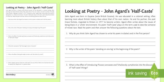 gcse questions about 39 half caste 39 by john agard worksheet activity sheet. Black Bedroom Furniture Sets. Home Design Ideas