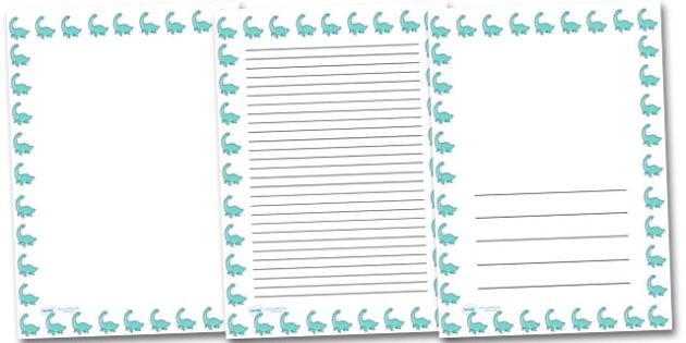 Cute Pleseosaur Portrait Page Borders- Portrait Page Borders - Page border, border, writing template, writing aid, writing frame, a4 border, template, templates, landscape