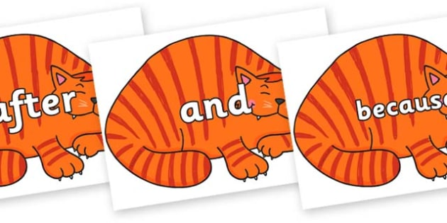 Connectives on Hullabaloo Cat to Support Teaching on Farmyard Hullabaloo - Connectives, VCOP, connective resources, connectives display words, connective displays
