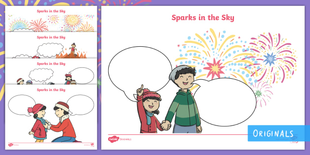 sparks in the sky speech and thought bubble worksheet activity. Black Bedroom Furniture Sets. Home Design Ideas
