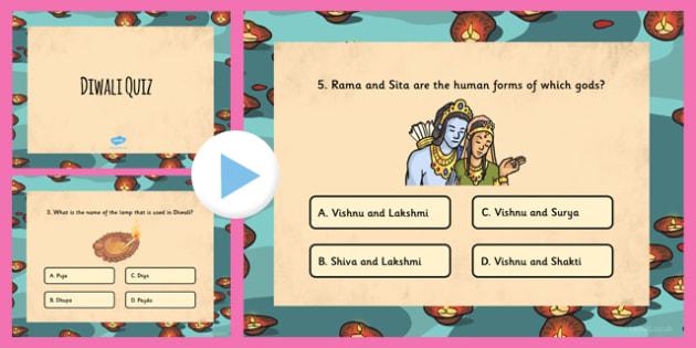 Diwali Quiz PowerPoint - hinduism, hindu, celebration, religion