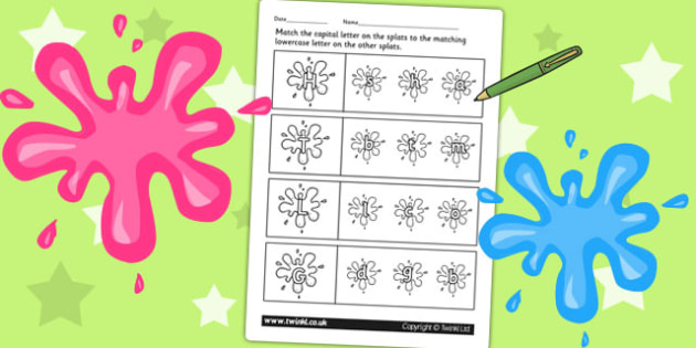 Splat Themed Capital Letter Matching Worksheet - a-z, uppercase
