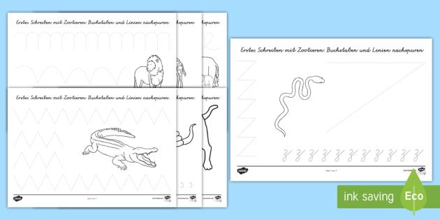 Zootiere Arbeitsblatt Erstes Schreiben: Schwungübungen