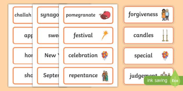 Rosh Hashanah Word Cards