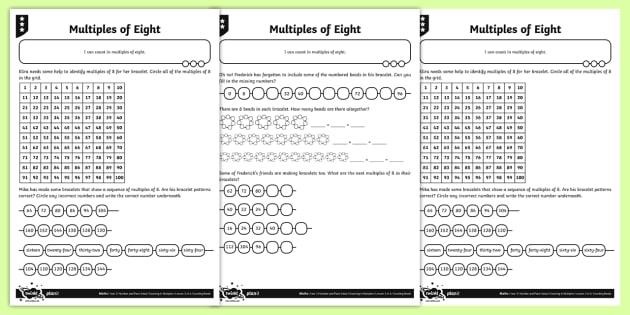 Multiples Of 8 Reasoning Worksheet Worksheets Number