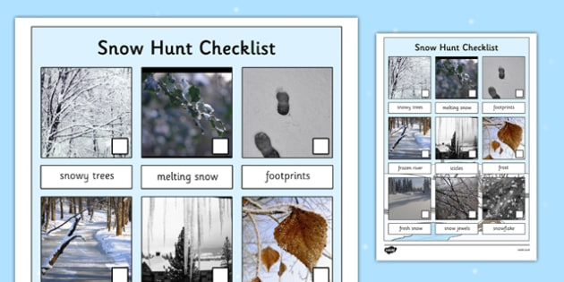 Winter Snow Hunt Checklist - winter, snow, hunt, winter hunt, snow hunt, hunt checklist, winter checklist, snow checklist, seasons, sensory walks, senses