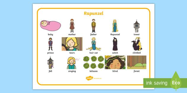 Rapunzel Word Mat Images