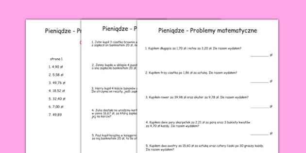 Arkusz Problemy matematyczne Pieniądze po polsku