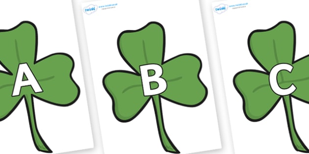 A-Z Alphabet on Clovers - A-Z, A4, display, Alphabet frieze, Display letters, Letter posters, A-Z letters, Alphabet flashcards