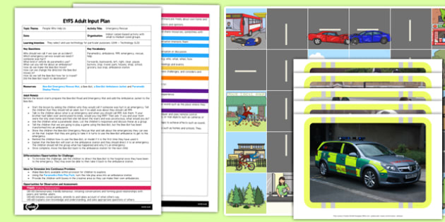 Emergency Rescue EYFS Adult Input Plan and Resource Pack - People who help us, Paramedics, ambulance, 999, emergency, rescue, help, Forwards, backwards, left, right, clear, pause, buttons, stop, travel, park, houses, shop, school, grocery, bus stop,