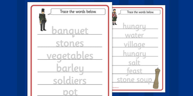 Stone Soup Trace the Words Worksheets - stone soup, trace, words