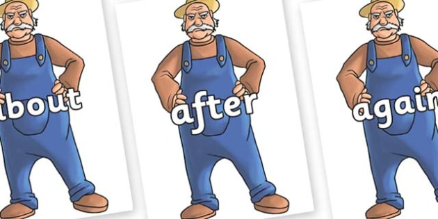 KS1 Keywords on Angry Farmer - KS1, CLL, Communication language and literacy, Display, Key words, high frequency words, foundation stage literacy, DfES Letters and Sounds, Letters and Sounds, spelling