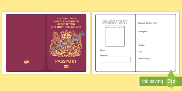 British passport template passport design holiday for Printable passport template for kids