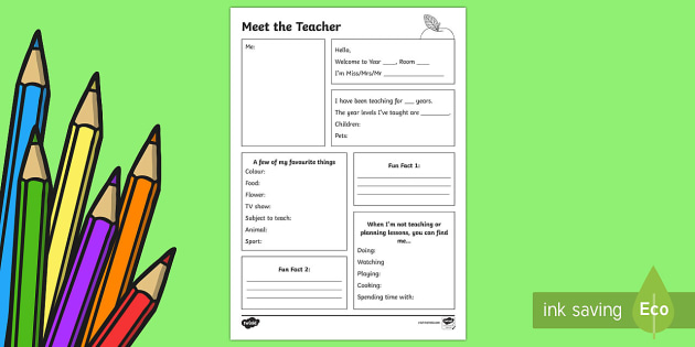 meet the teacher template letter back to school australia