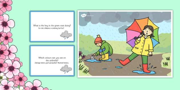 Spring Showers Scene and Question Cards Polish Translation - polish, spring, spring showers, questions, comprehension pack