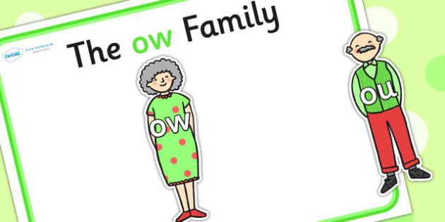 Ow Sound Family Cut Outs - sound families, sounds, cutouts, cut