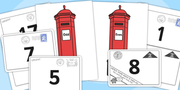 Odds and Evens Letter Posting Activity - odd, even, odd and even, letter, posting, letter posting, posting activity, odd and even activity, matching