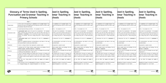 Glossary Of Terms To Help Parents >> Spag Glossary Parent And Carer Information Pack Primary
