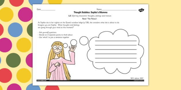 Sophie's Dilemma Worksheet to Support Teaching on The BFG - Sophies, Dilemma, BFG, Thought