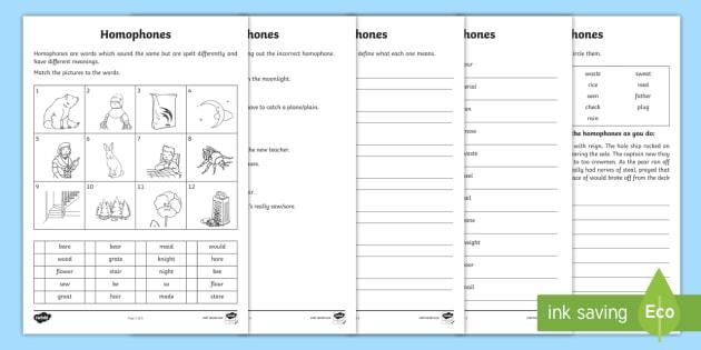 Homophones Worksheet / Worksheets - Homophones Worksheets